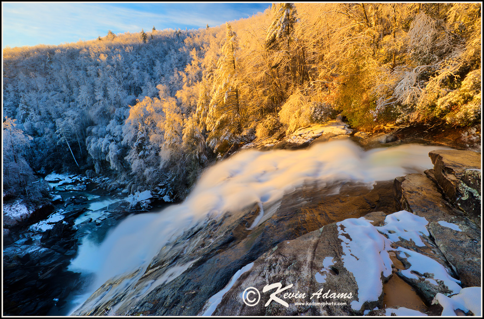 Early morning winter view of Rainbow Falls on Horsepasture Wild & Scenic River in Pisgah (formerly Nantahala) National Forest, North Carolina.