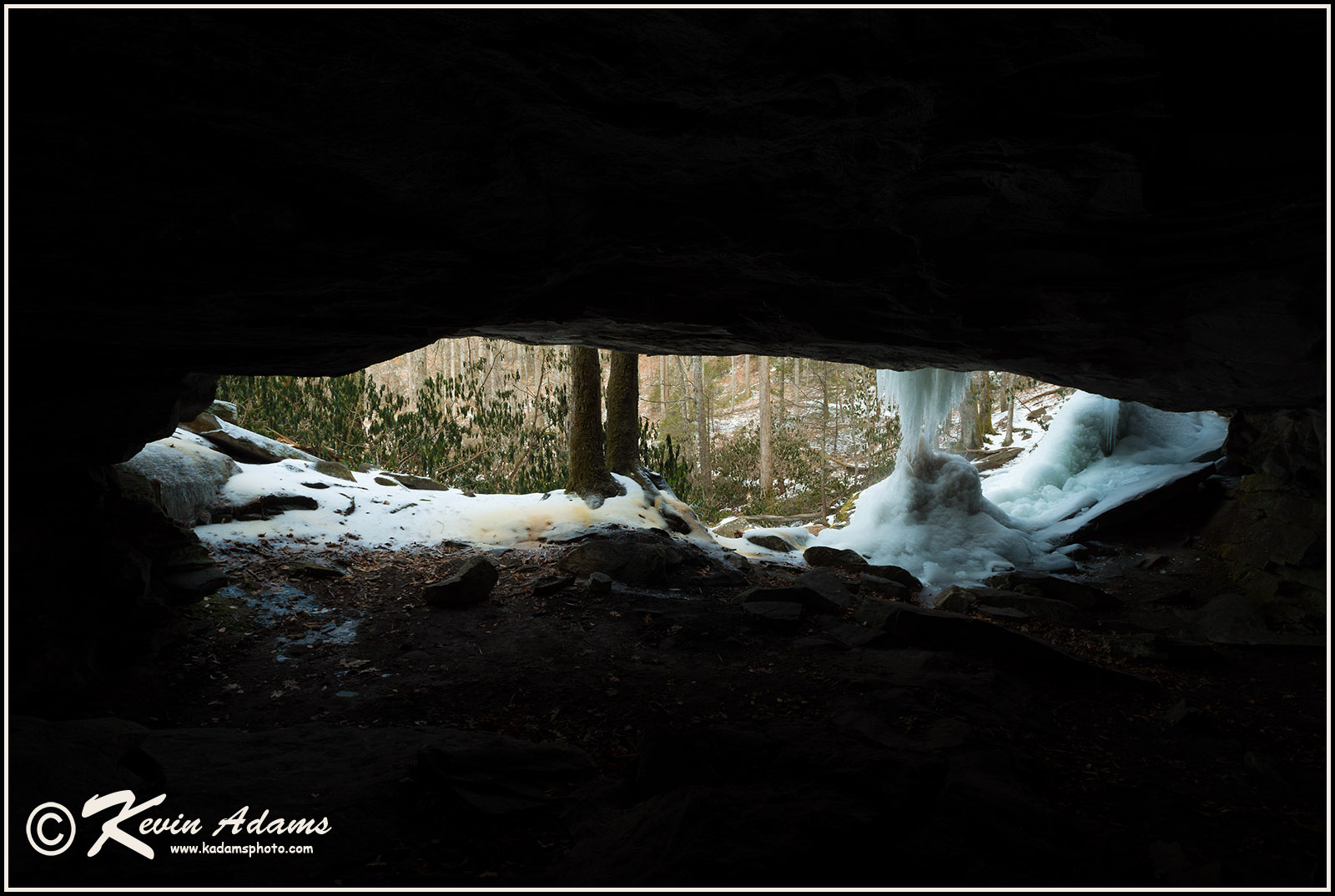 Winter view from the grotto behind Slick Rock Falls in Pisgah National Forest, North Carolina.