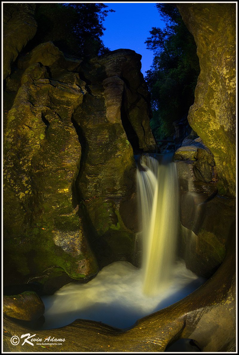 Night view of Sculpted Falls