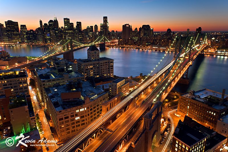 Brooklyn Bridge and Manhattan Bridge at Night-New York City